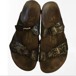 Birkenstock Arizona metallic strapped sandals